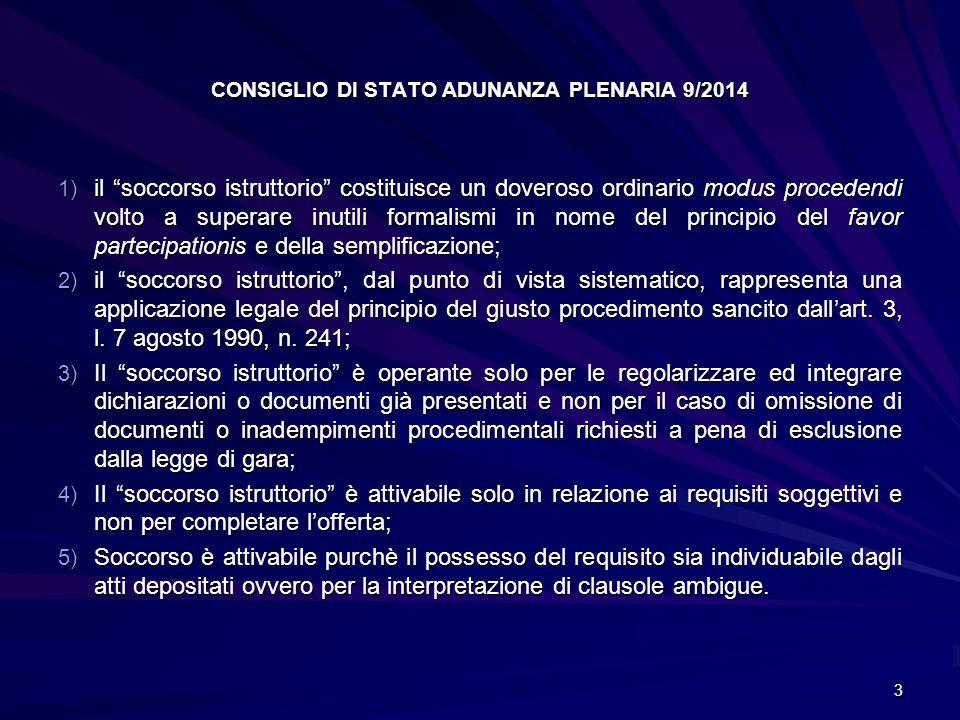CONSIGLIO DI STATO ADUNANZA PLENARIA 9/2014