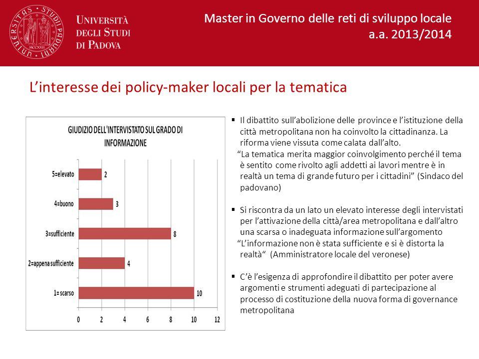 L'interesse dei policy-maker locali per la tematica