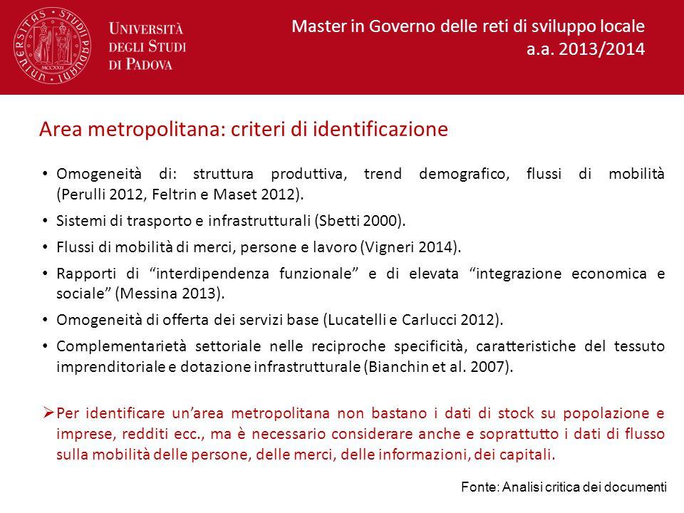 Area metropolitana: criteri di identificazione