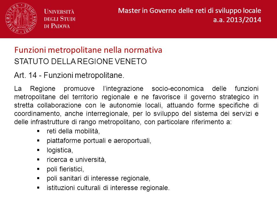 Funzioni metropolitane nella normativa
