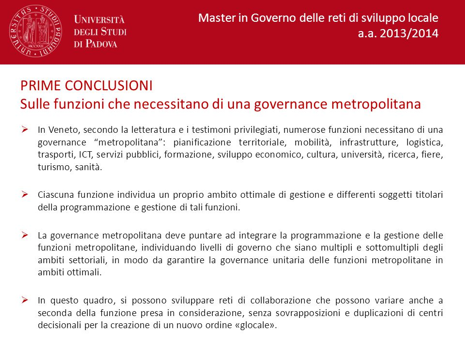 Sulle funzioni che necessitano di una governance metropolitana