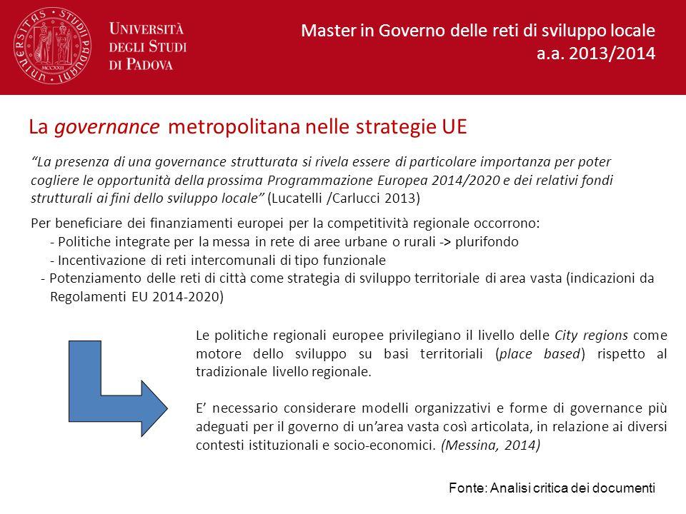 La governance metropolitana nelle strategie UE
