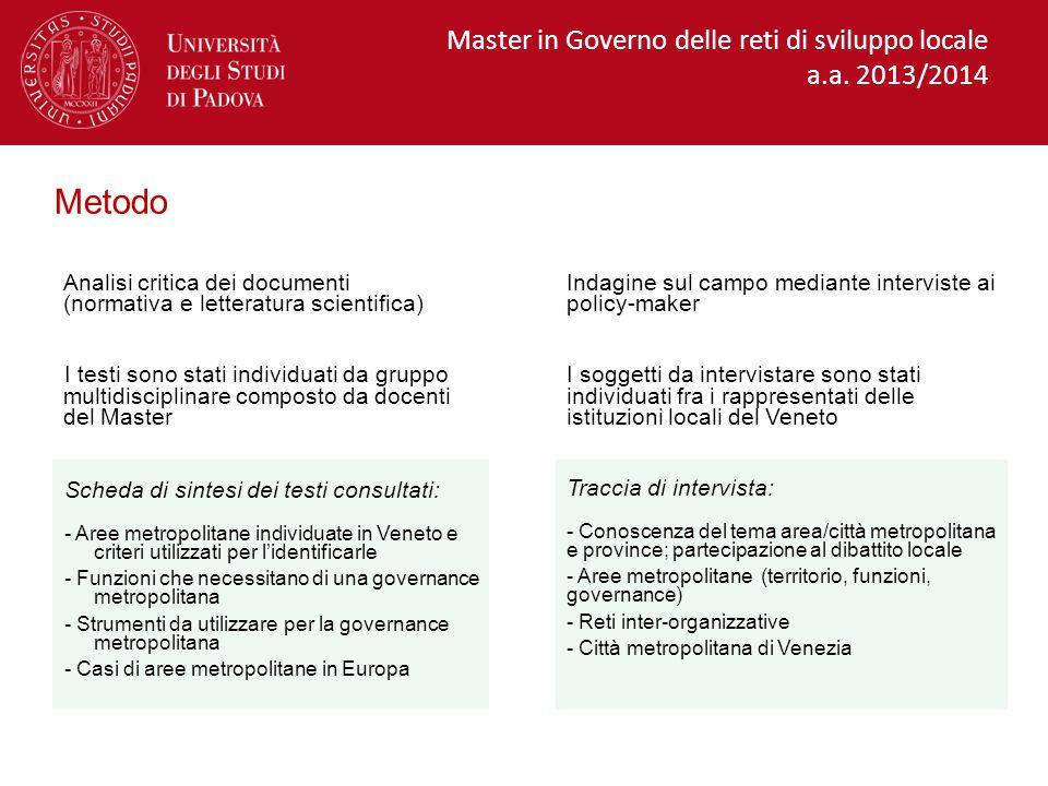 Metodo Master in Governo delle reti di sviluppo locale a.a. 2013/2014