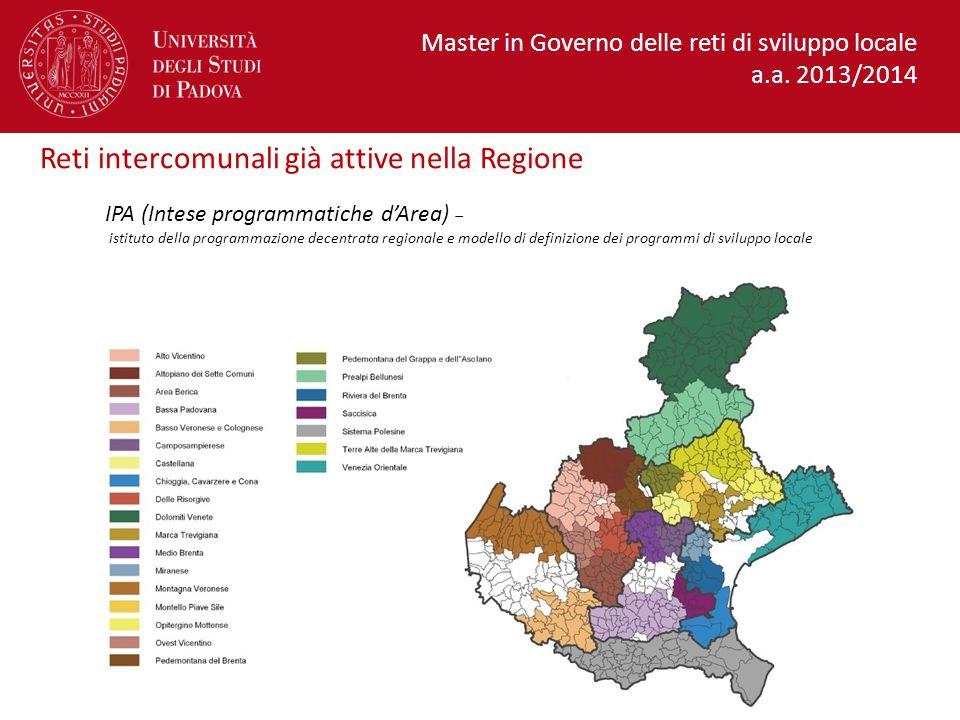 Reti intercomunali già attive nella Regione