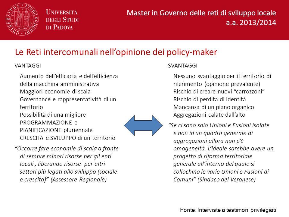 Le Reti intercomunali nell'opinione dei policy-maker