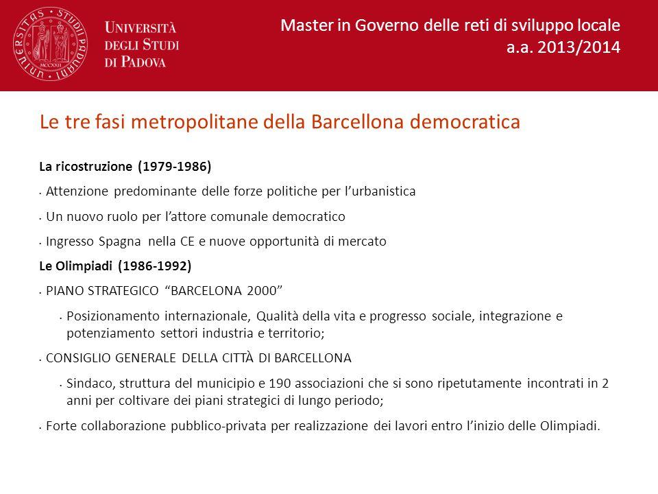 Le tre fasi metropolitane della Barcellona democratica