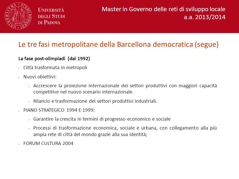 Le tre fasi metropolitane della Barcellona democratica (segue)