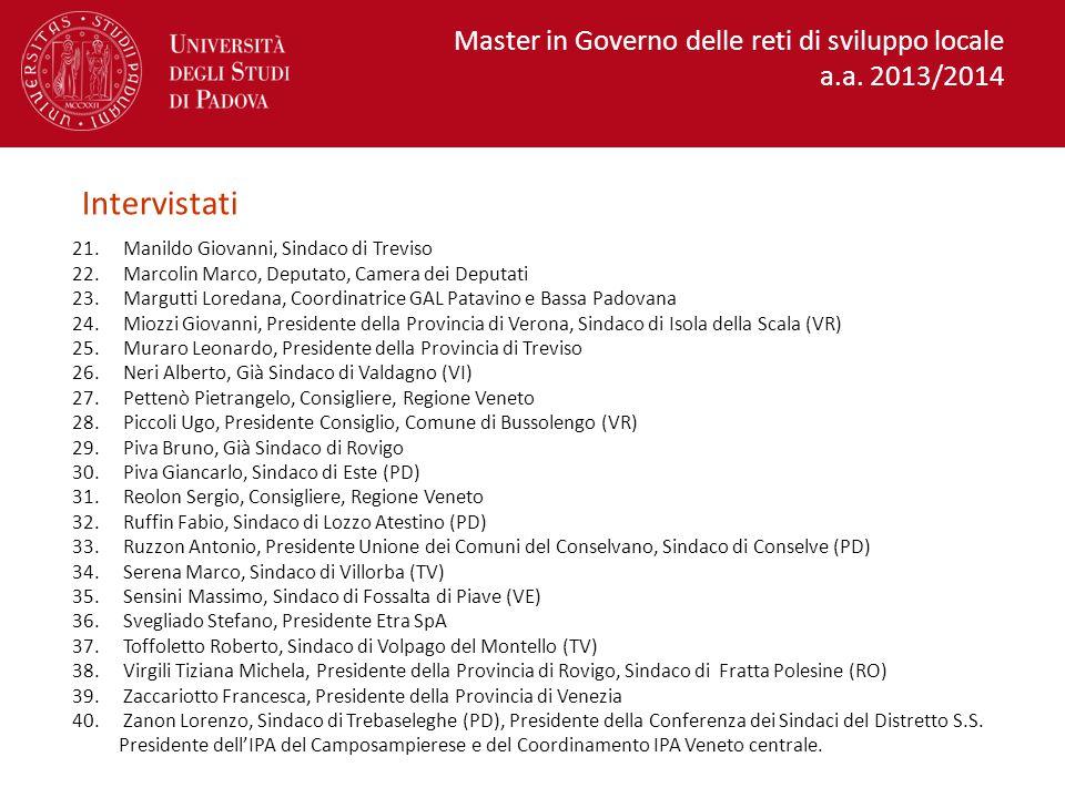 Intervistati Master in Governo delle reti di sviluppo locale