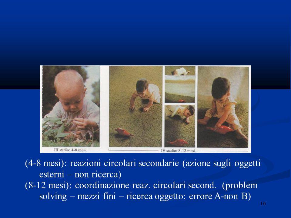 (4-8 mesi): reazioni circolari secondarie (azione sugli oggetti esterni – non ricerca)