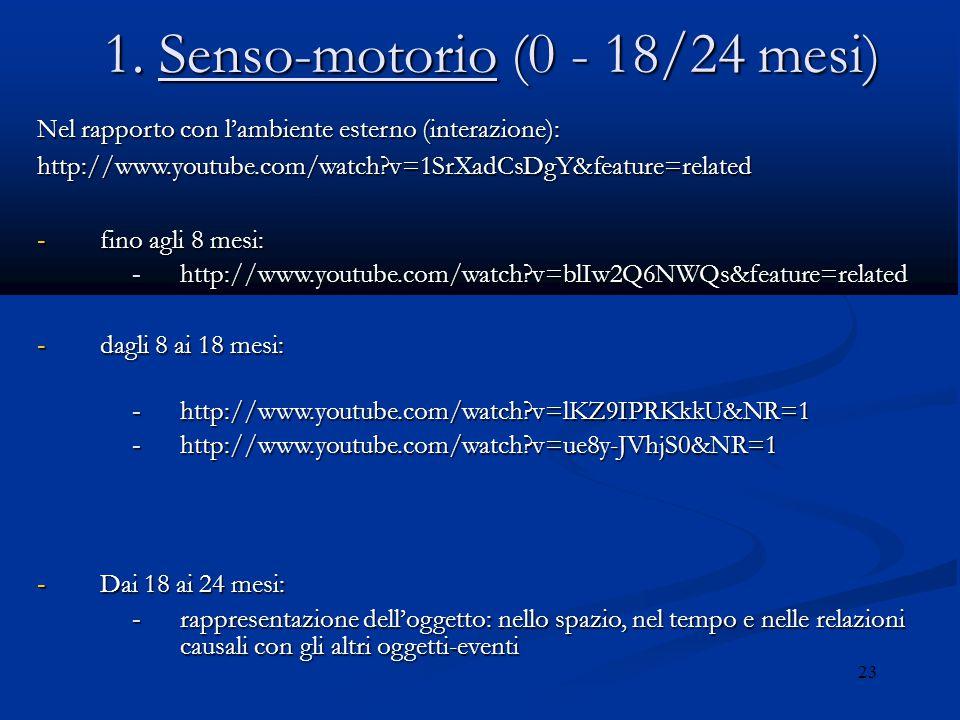 1. Senso-motorio (0 - 18/24 mesi)