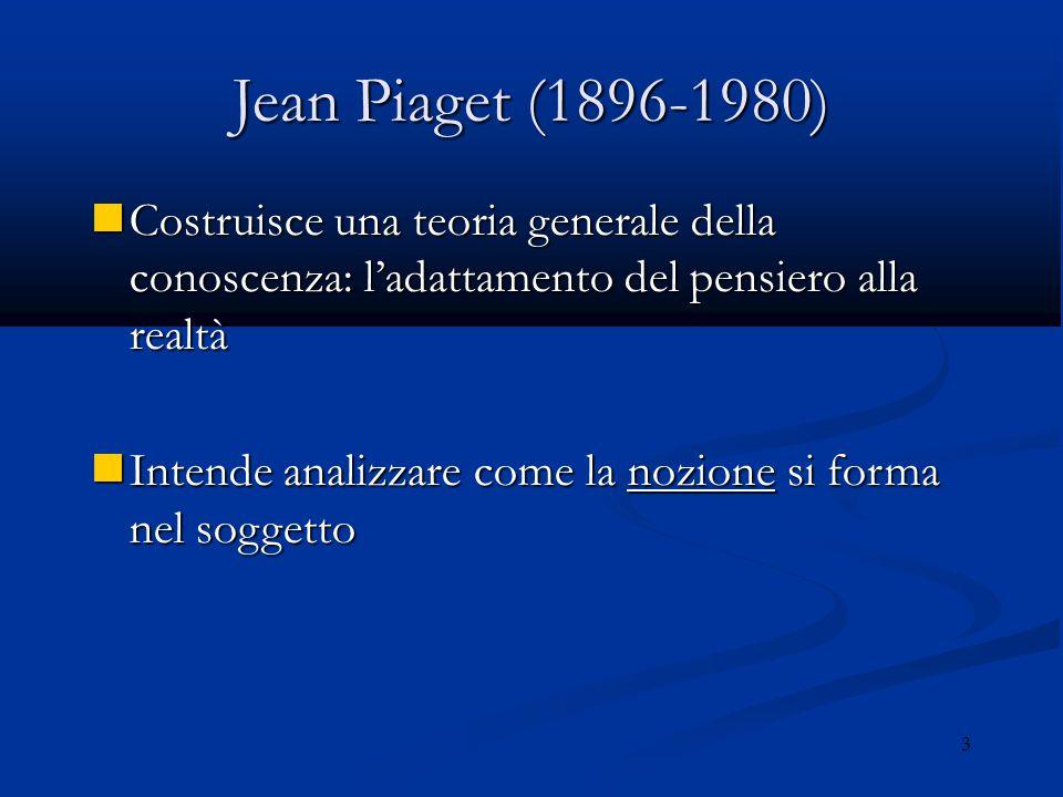 Jean Piaget (1896-1980) Costruisce una teoria generale della conoscenza: l'adattamento del pensiero alla realtà.