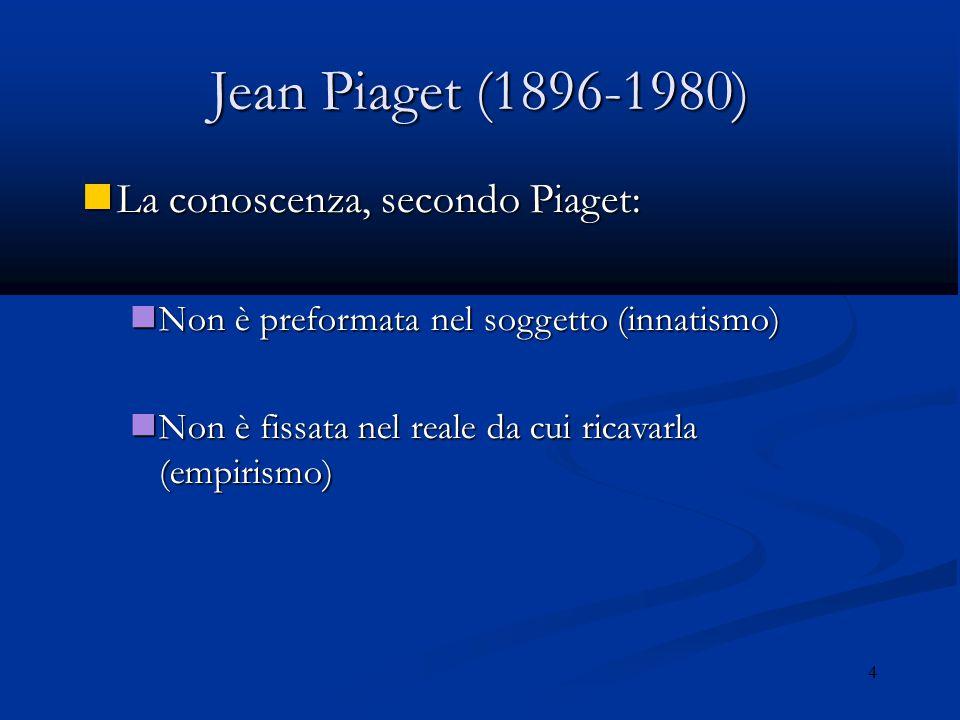 Jean Piaget (1896-1980) La conoscenza, secondo Piaget:
