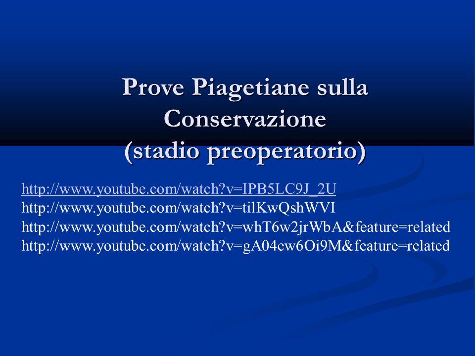 Prove Piagetiane sulla Conservazione (stadio preoperatorio)