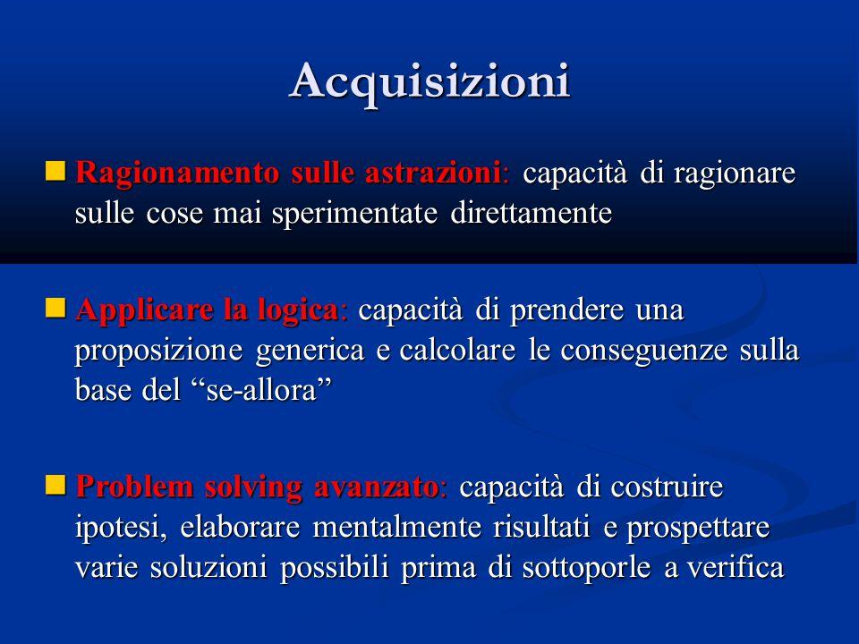 Acquisizioni Ragionamento sulle astrazioni: capacità di ragionare sulle cose mai sperimentate direttamente.