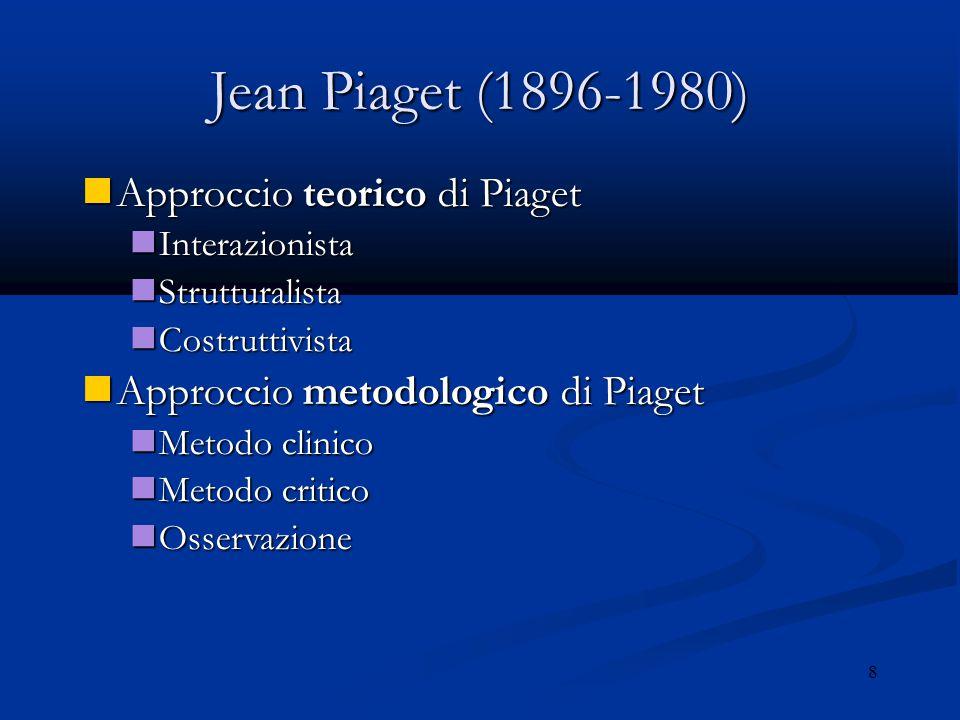 Jean Piaget (1896-1980) Approccio teorico di Piaget