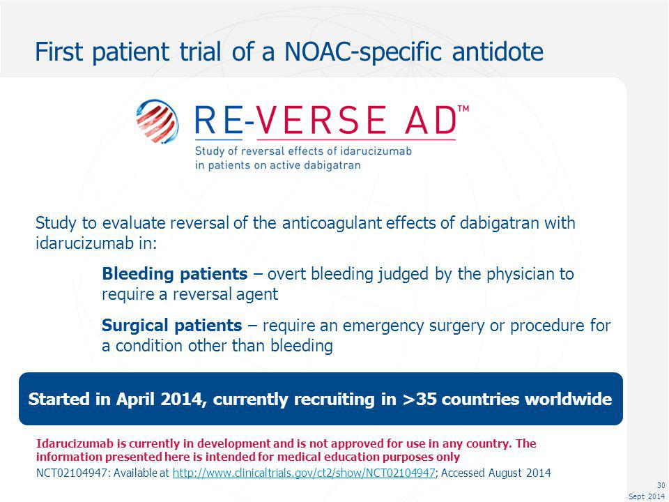 First patient trial of a NOAC-specific antidote