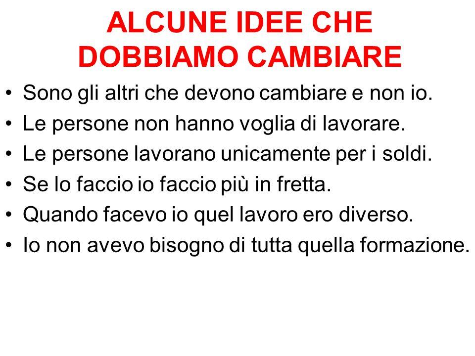 ALCUNE IDEE CHE DOBBIAMO CAMBIARE