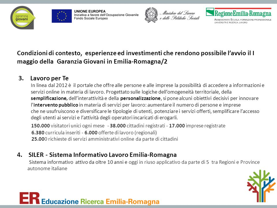 4. SILER - Sistema Informativo Lavoro Emilia-Romagna