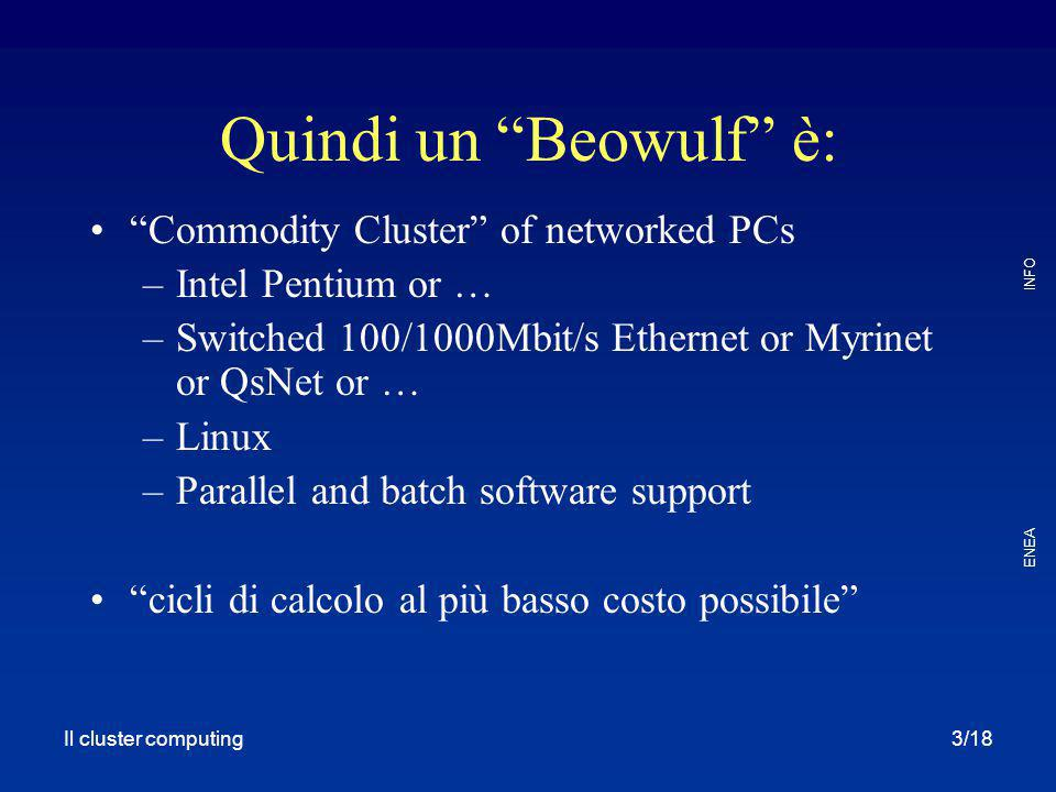 Quindi un Beowulf è: Commodity Cluster of networked PCs