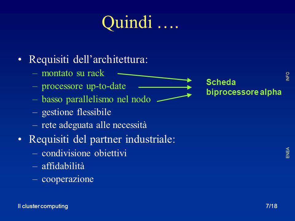 Quindi …. Requisiti dell'architettura: