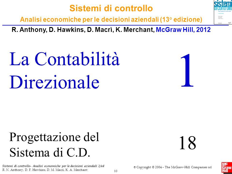 1 La Contabilità Direzionale 18 Progettazione del Sistema di C.D.