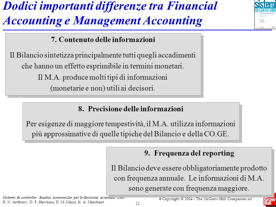 Dodici importanti differenze tra Financial Accounting e Management Accounting