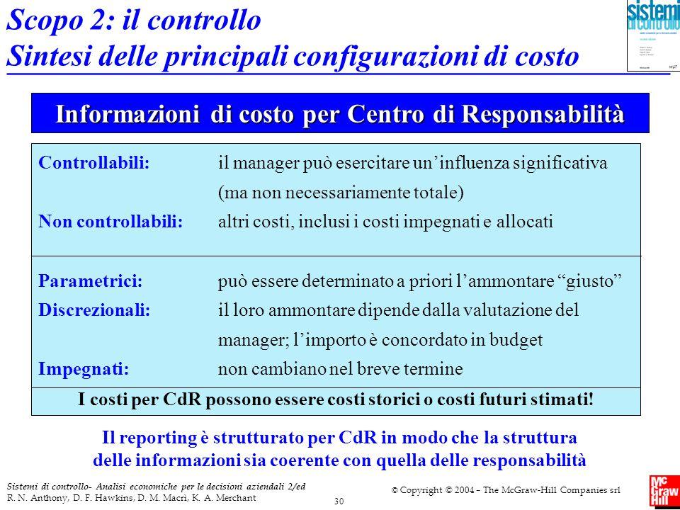 Informazioni di costo per Centro di Responsabilità