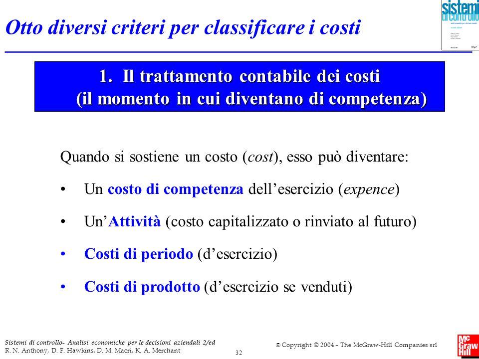 Otto diversi criteri per classificare i costi