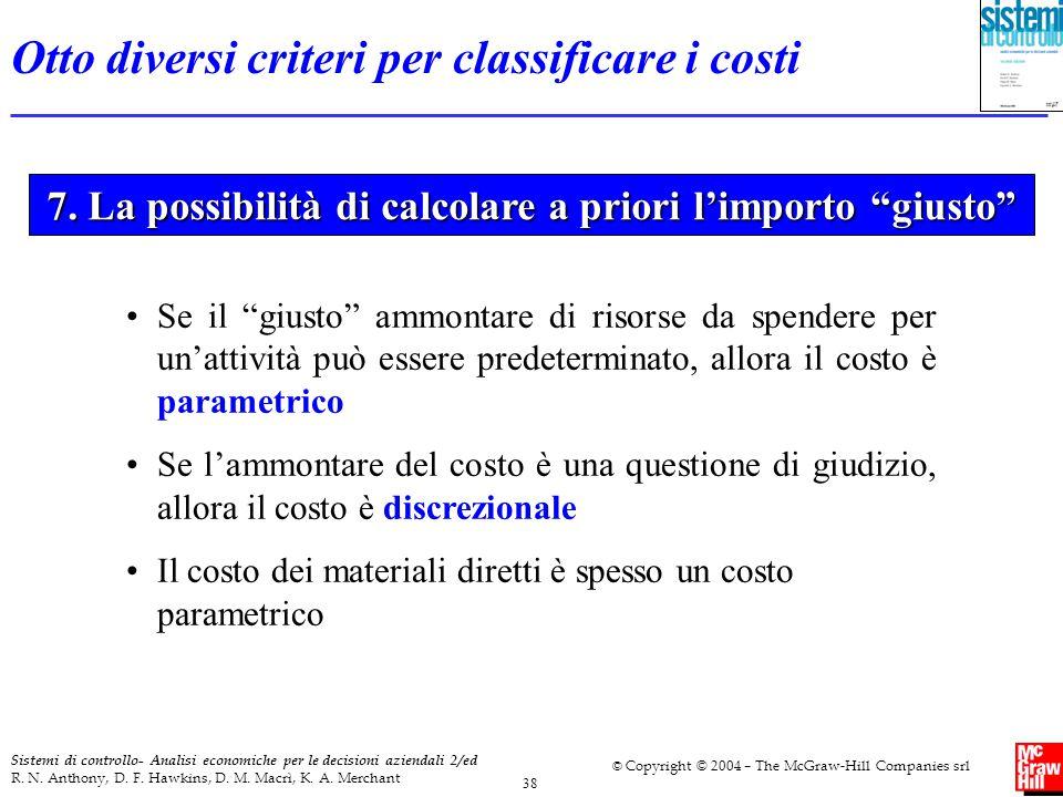 7. La possibilità di calcolare a priori l'importo giusto