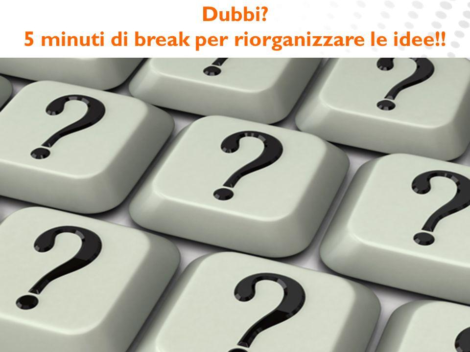 5 minuti di break per riorganizzare le idee!!