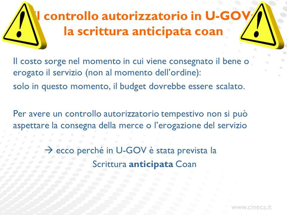 Il controllo autorizzatorio in U-GOV: la scrittura anticipata coan