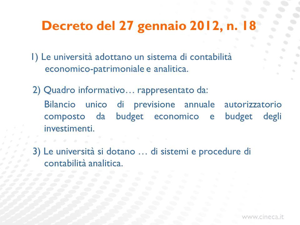 Decreto del 27 gennaio 2012, n. 18 1) Le università adottano un sistema di contabilità economico-patrimoniale e analitica.