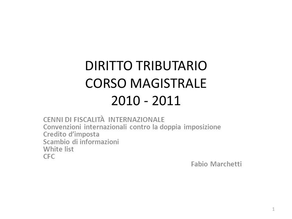 DIRITTO TRIBUTARIO CORSO MAGISTRALE 2010 - 2011