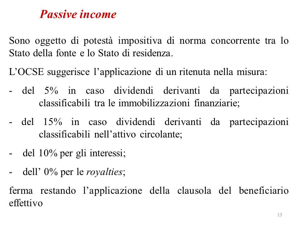 Passive income Sono oggetto di potestà impositiva di norma concorrente tra lo Stato della fonte e lo Stato di residenza.