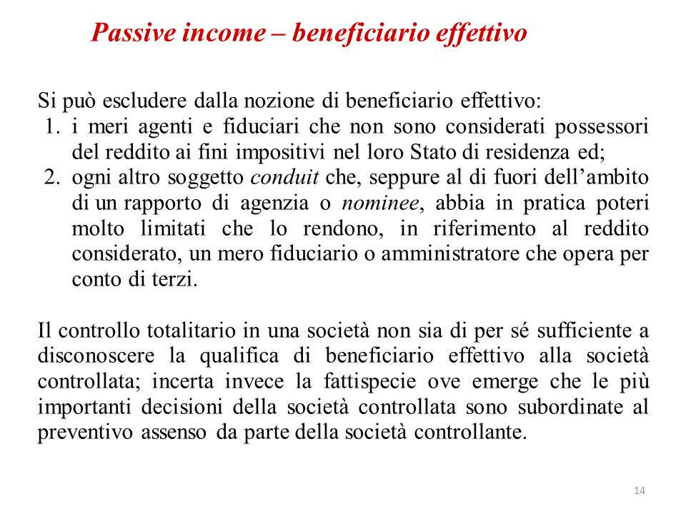 Passive income – beneficiario effettivo