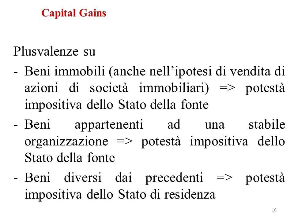 Capital Gains Plusvalenze su.