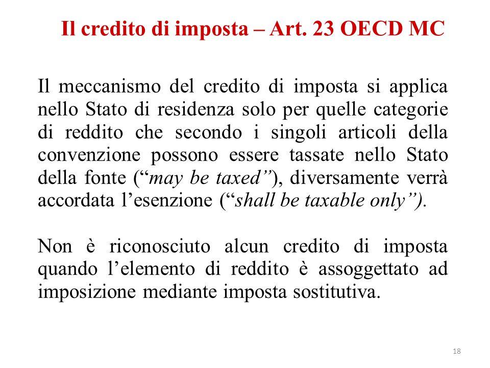 Il credito di imposta – Art. 23 OECD MC