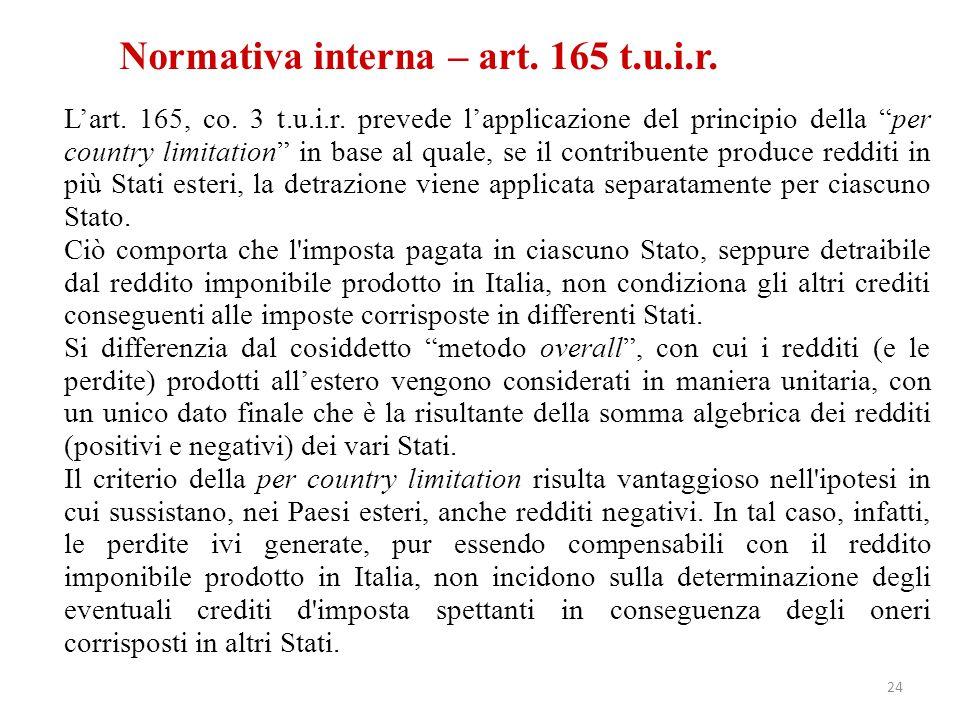 Normativa interna – art. 165 t.u.i.r.