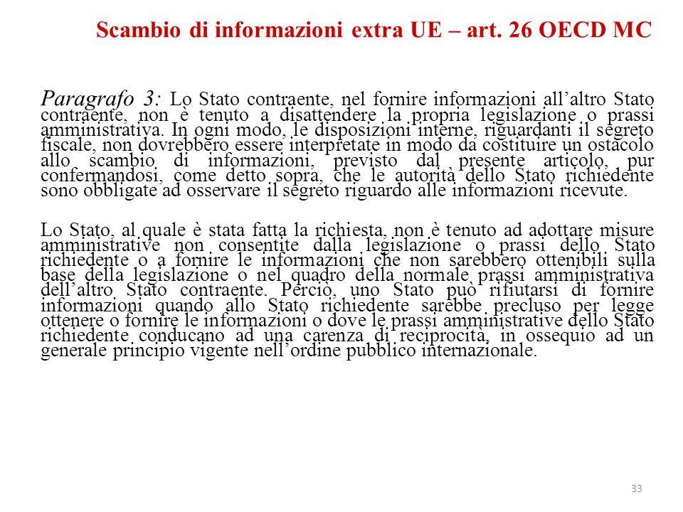 Scambio di informazioni extra UE – art. 26 OECD MC