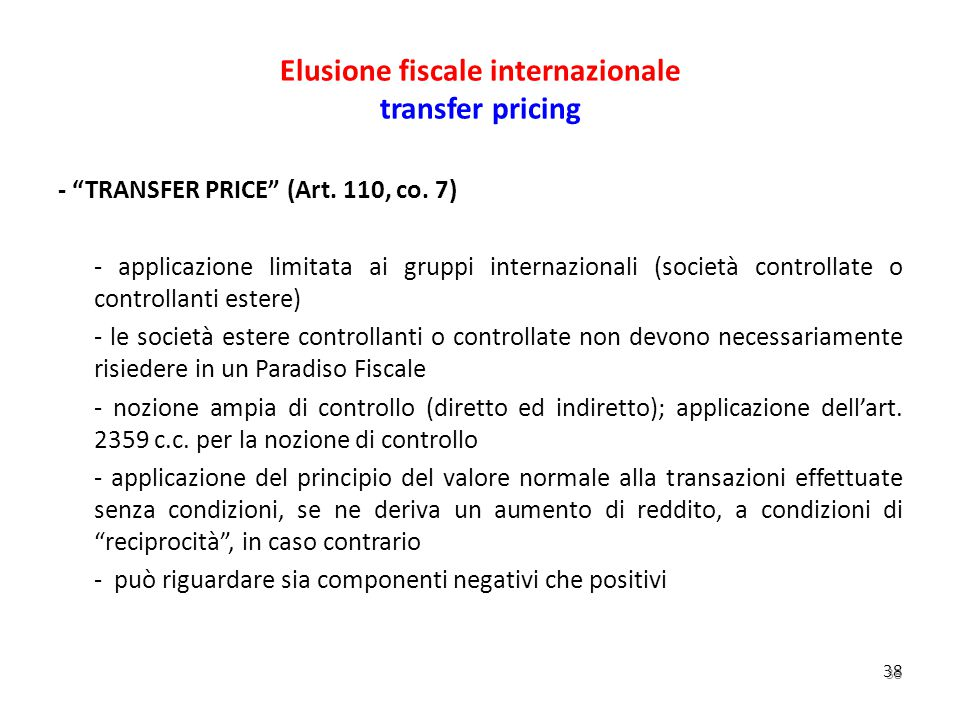 Elusione fiscale internazionale transfer pricing