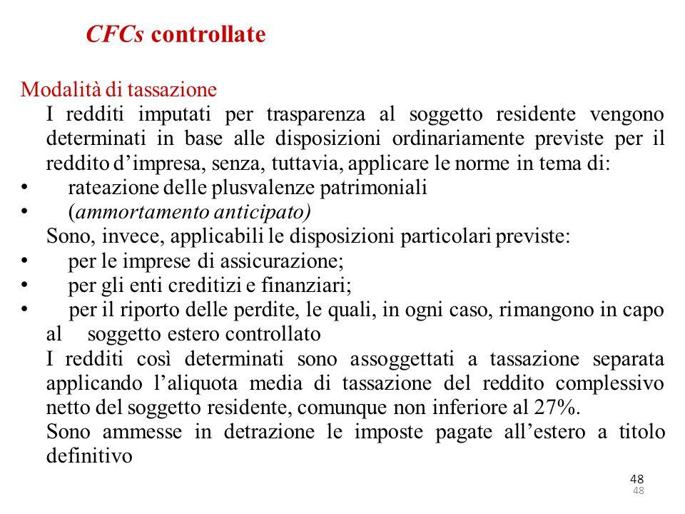 CFCs controllate Modalità di tassazione