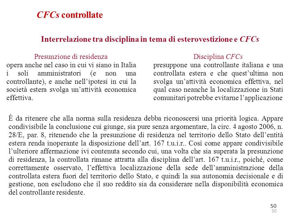 Interrelazione tra disciplina in tema di esterovestizione e CFCs