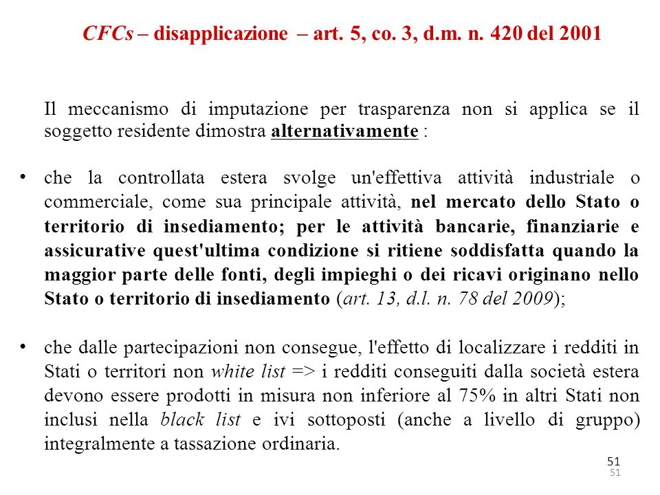 CFCs – disapplicazione – art. 5, co. 3, d.m. n. 420 del 2001
