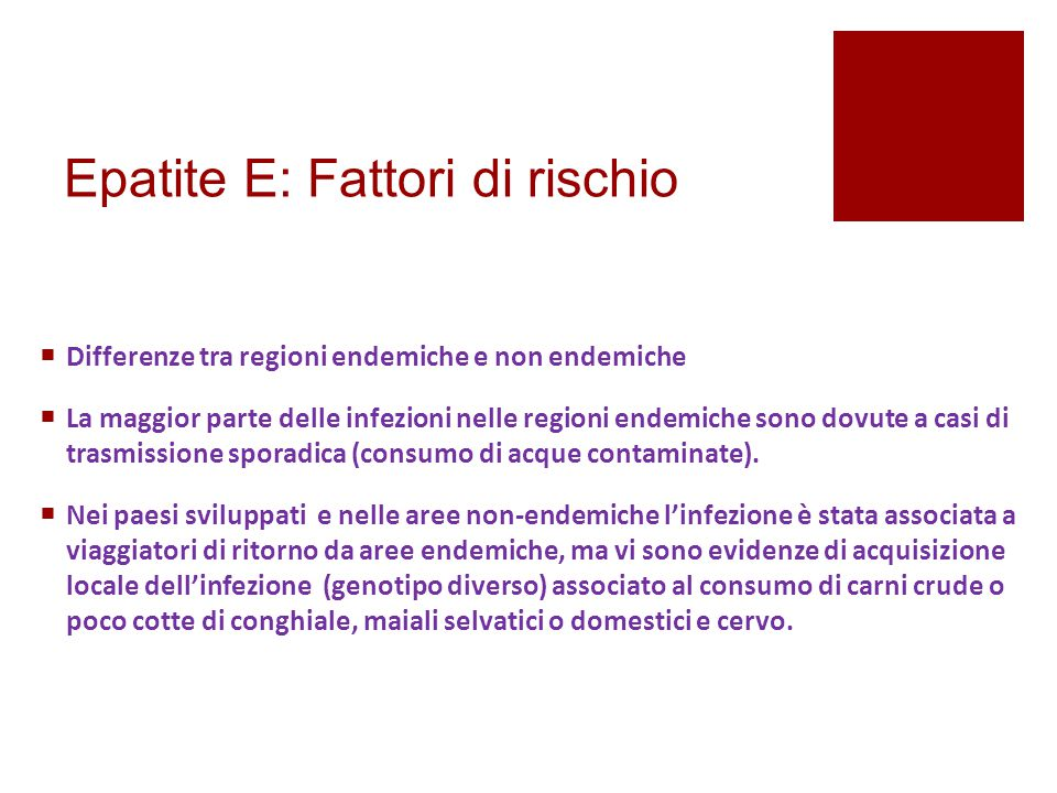 Epatite E: Fattori di rischio