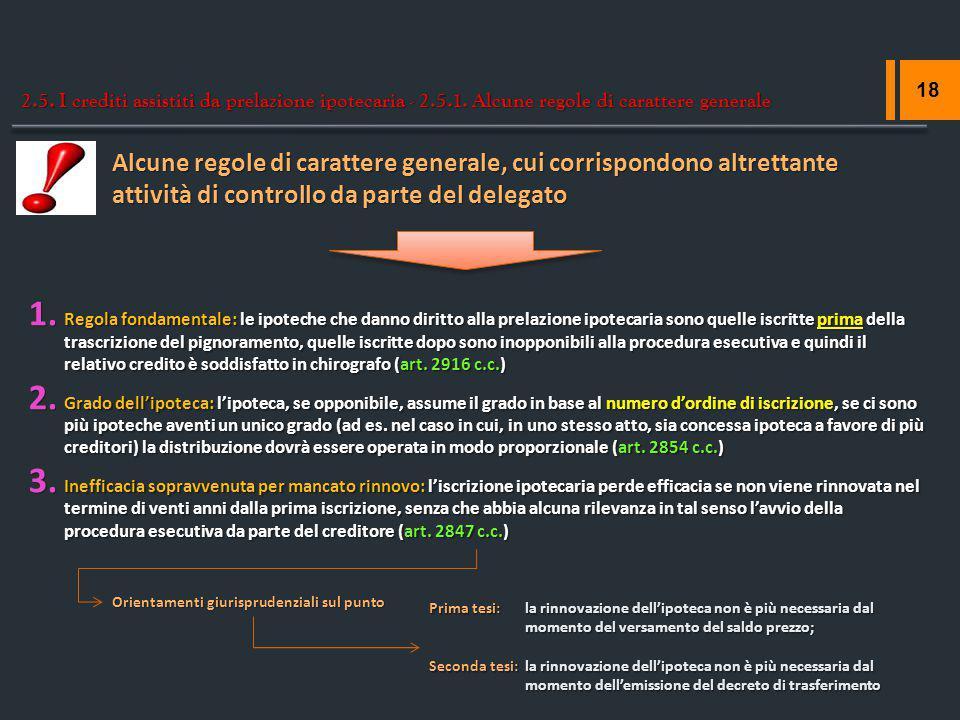 2. 5. I crediti assistiti da prelazione ipotecaria - 2. 5. 1