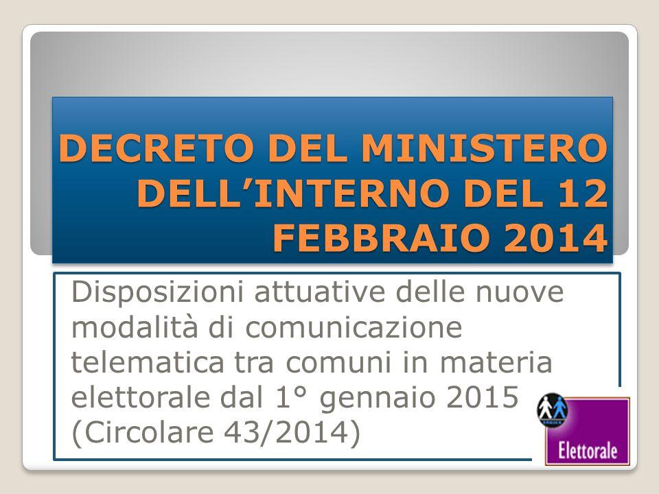 DECRETO DEL MINISTERO DELL'INTERNO DEL 12 FEBBRAIO 2014