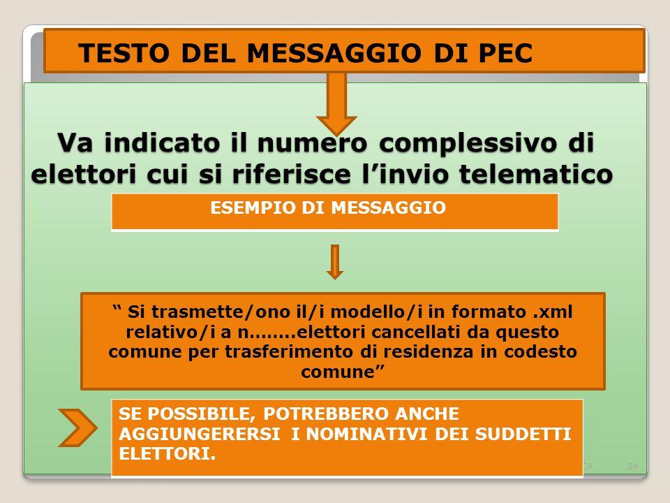 TESTO DEL MESSAGGIO DI PEC