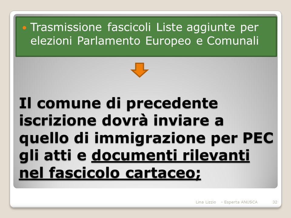 Trasmissione fascicoli Liste aggiunte per elezioni Parlamento Europeo e Comunali