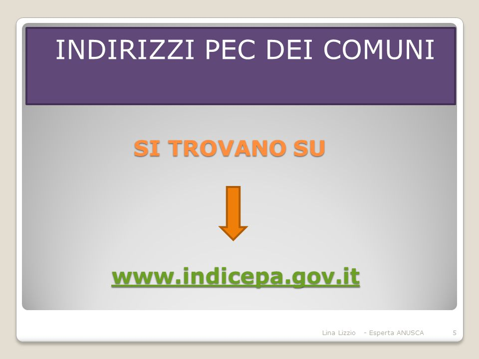 SI TROVANO SU www.indicepa.gov.it