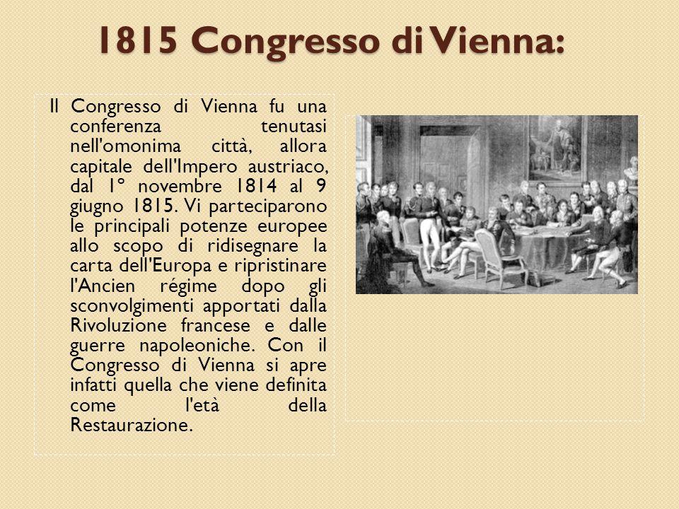 1815 Congresso di Vienna: